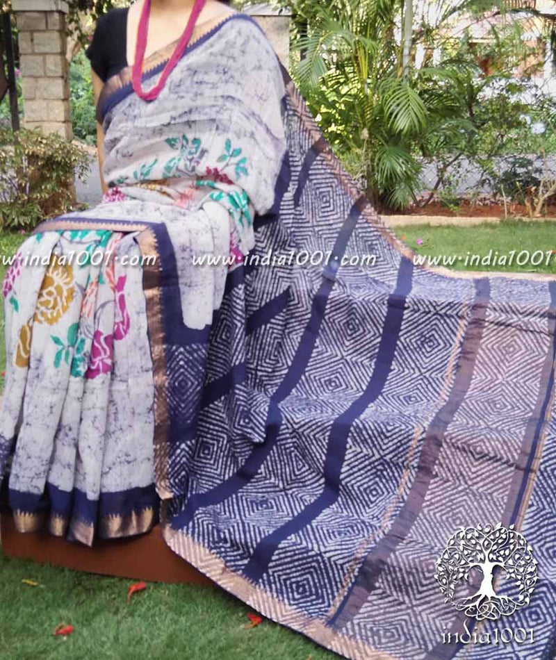 Elegant Mangalgiri Saree with Wax Batik work