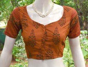 Block Printed cotton Blouse - Size 36 , 40