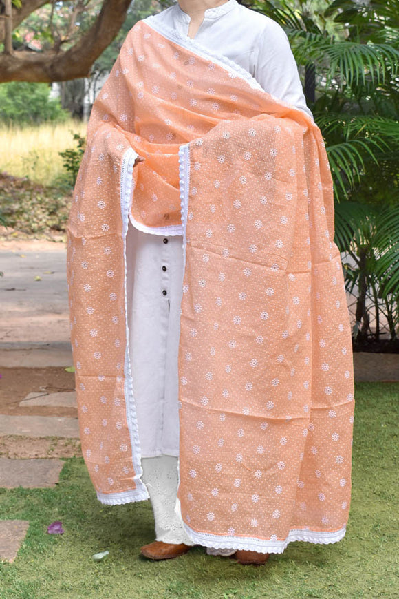 Elegant kota cotton dupatta with embroidery & printed dots & stitched borders