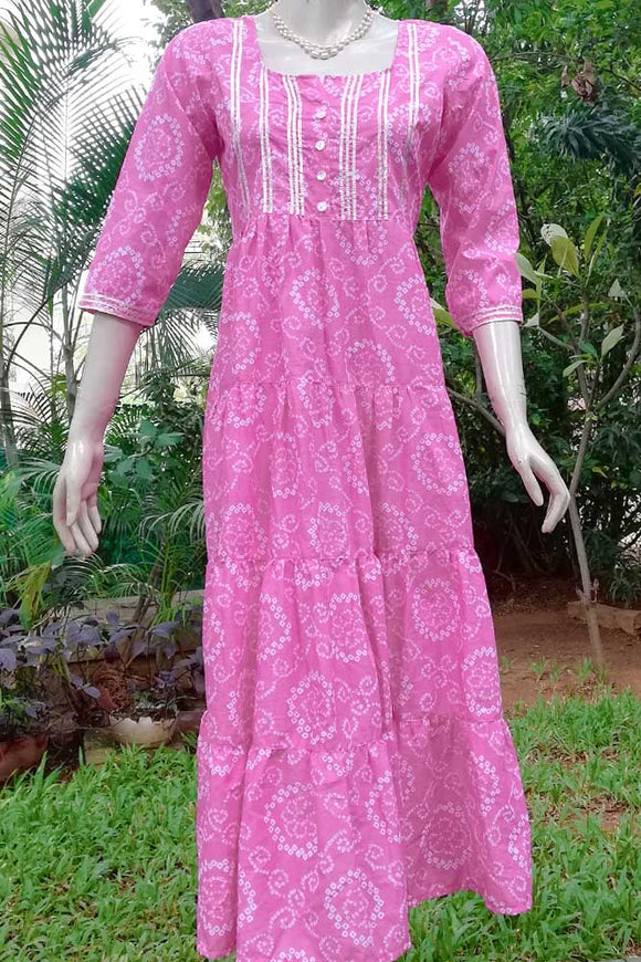 Elegant Cotton Dress/kurta with Gota Work
