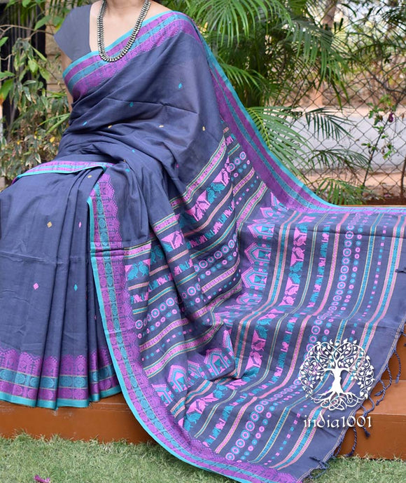 Elegant Bengal Khadi Cotton Saree with Dolabedi inspired motifs