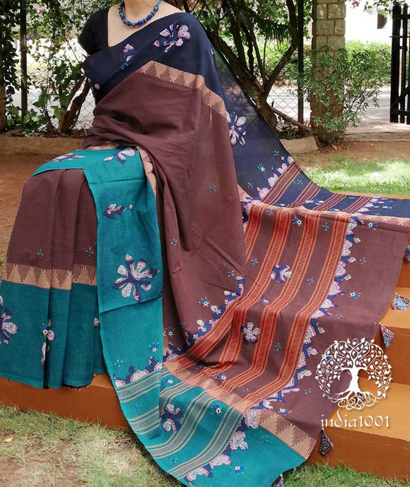 Elegant Hand Embroidered Woven Cotton saree with applique work