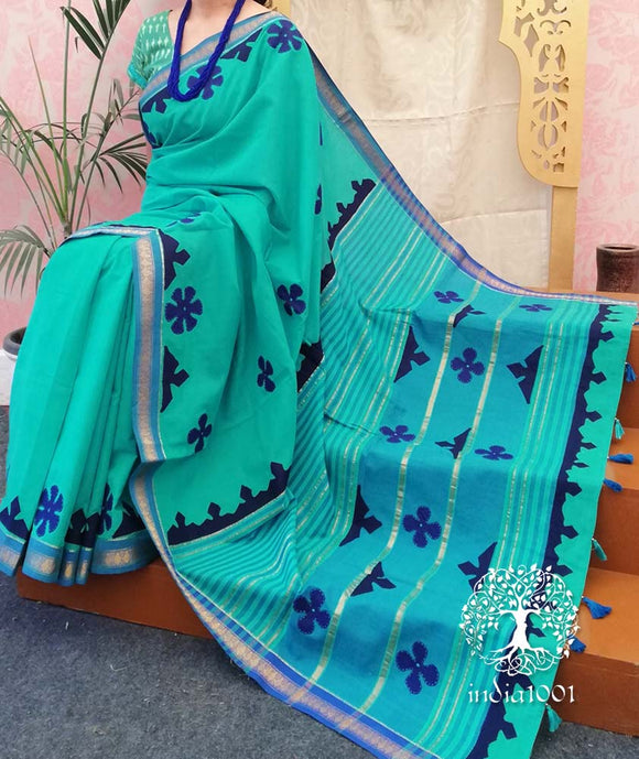 Elegant Mangalgiri Cotton Saree with hand applique work