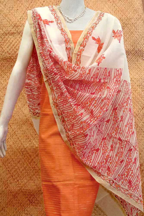 Beautiful Chanderi dupatta with block printing