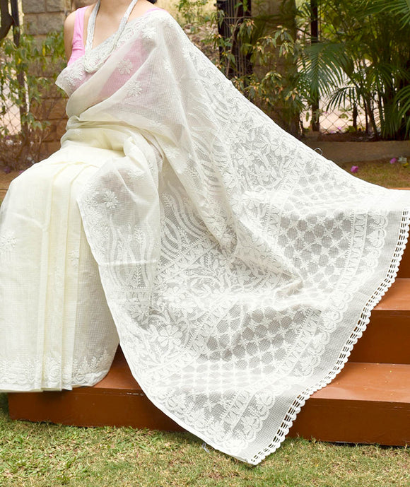 Elegant Kota cotton Saree with Lucknowi Chikankari work and crochet work on the border