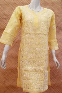 Elegant Voile Cotton Kurta with Chikankari & gota work  Size - 38