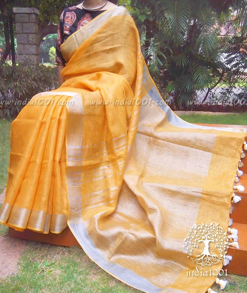 Elegant Woven Linen Saree with Silver Border and Palla