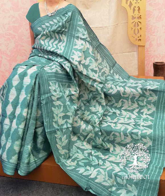 Elegant Desi Tussar Silk Saree with Tie & Dye Shibori work