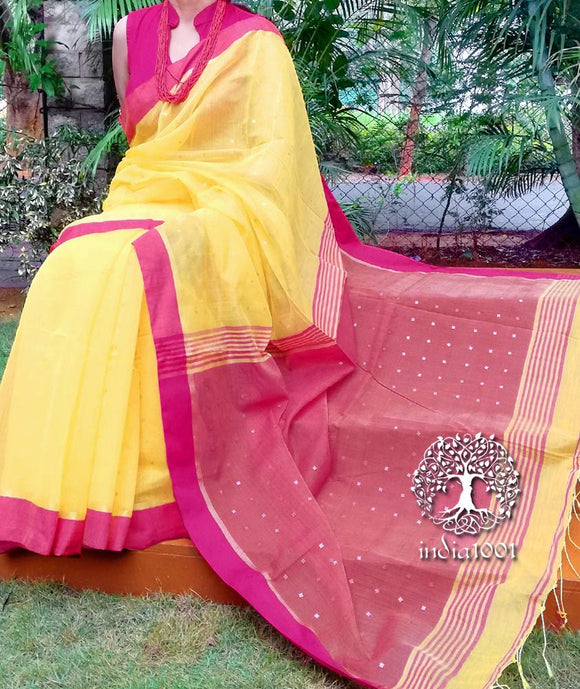 Beautiful cotton silk saree with woven sequins
