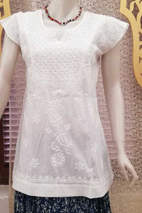 Elegant Cotton Short Kurta with Chikankari work - s- 40
