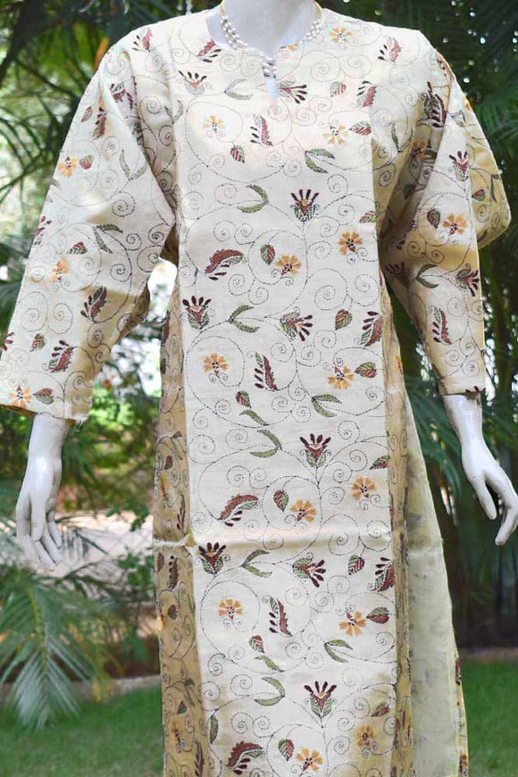 Semi stitched Desi Tussar Kurta fabric with Kantha work