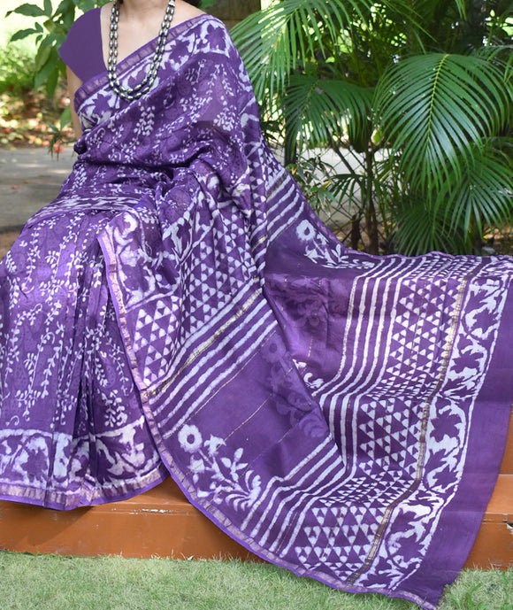 Elegant Chanderi Saree with Dabu Hand Block Printing