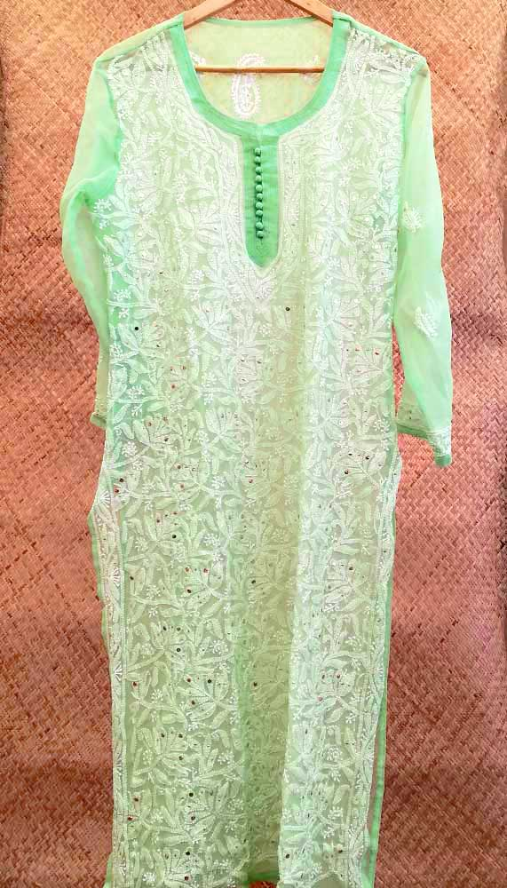 Elegant Georgette Long Kurta with Chikankari with muqaish work Size - 40