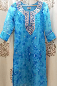 Elegant Kota Silk kurta with Hand embroidered Pitta & gota work - Size 34