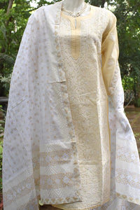 Elegant Voile Cotton Kurta with Chikankari (Size - 42) with kota dupatta