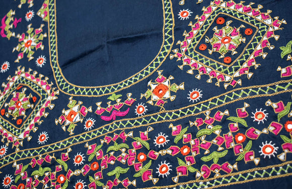 Beautiful Mashru Silk Blouse Fabric with Kutch Hand Embroidery