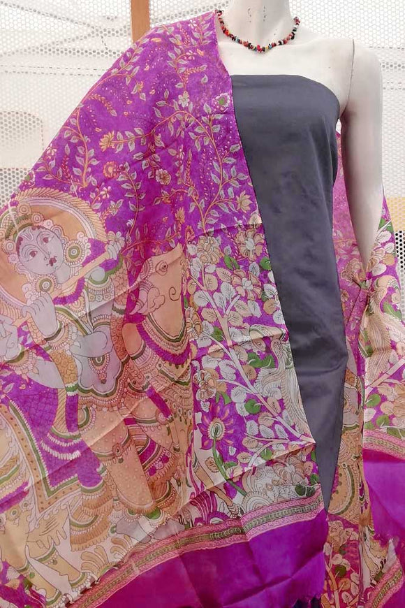 Designer Tussar  Silk Dupatta with block print