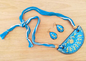 Hand Painted Ceramic thread necklace