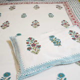 Mughal Hand block print Double Bed sheet with pillow covers ( Super King size)