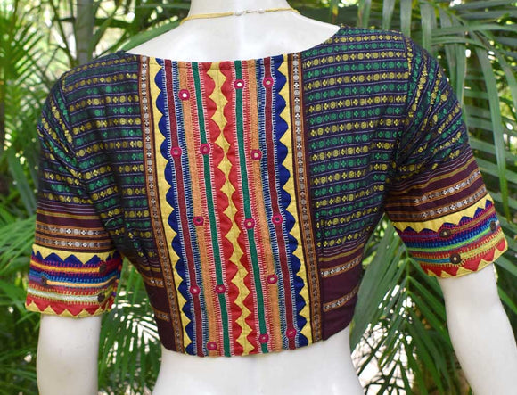 Beautiful Khun blouse with patch work & hand embroidery - Size 40 ( can be altered)