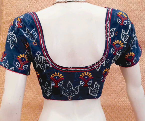 Dabu Block Print Cotton Blouse with Kutch Hand Embroidery size - 40