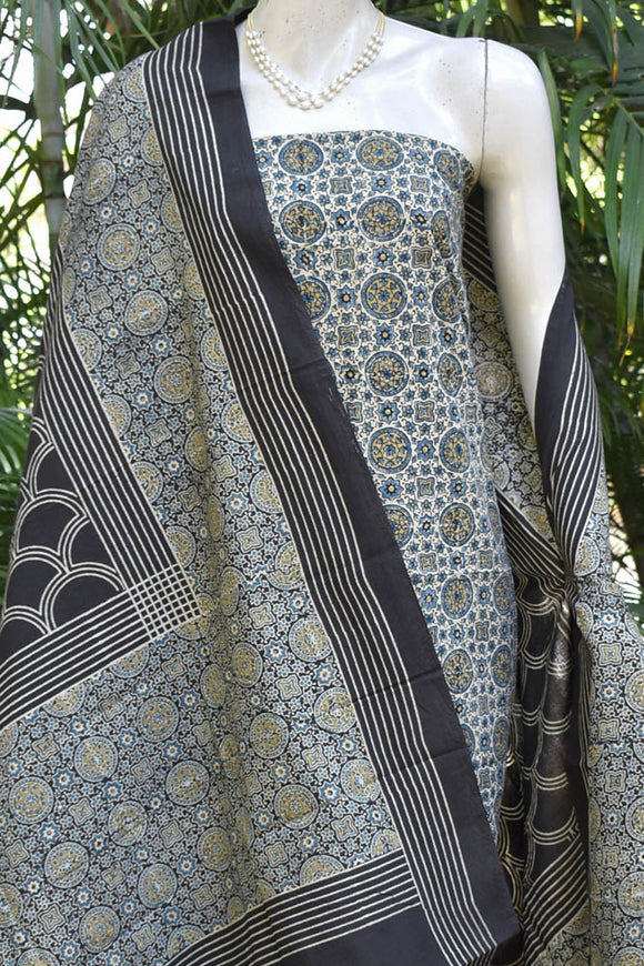 Elegant Block Printed Ajrakh Cotton Unstitched suit fabric