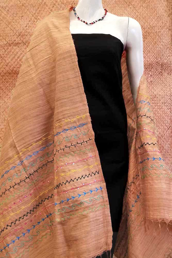Beautiful Geecha Silk Dupatta/stole with embroidery