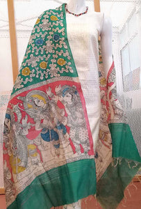 Hand Painted Mirror work Kalamkari Dupatta with Woven  Kurta