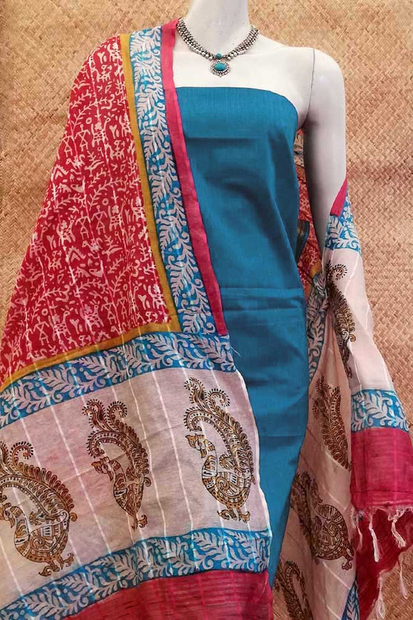 Elegant Noil Cotton dupatta with Block Print