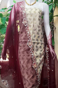 Beautiful Supernet dupatta with Embroidery