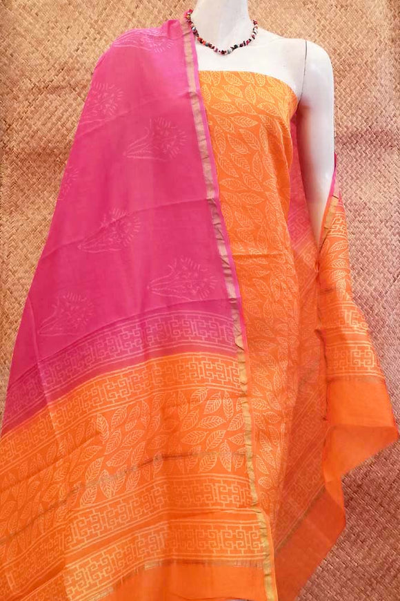 Beautiful Chanderi cotton unstitched suit fabric