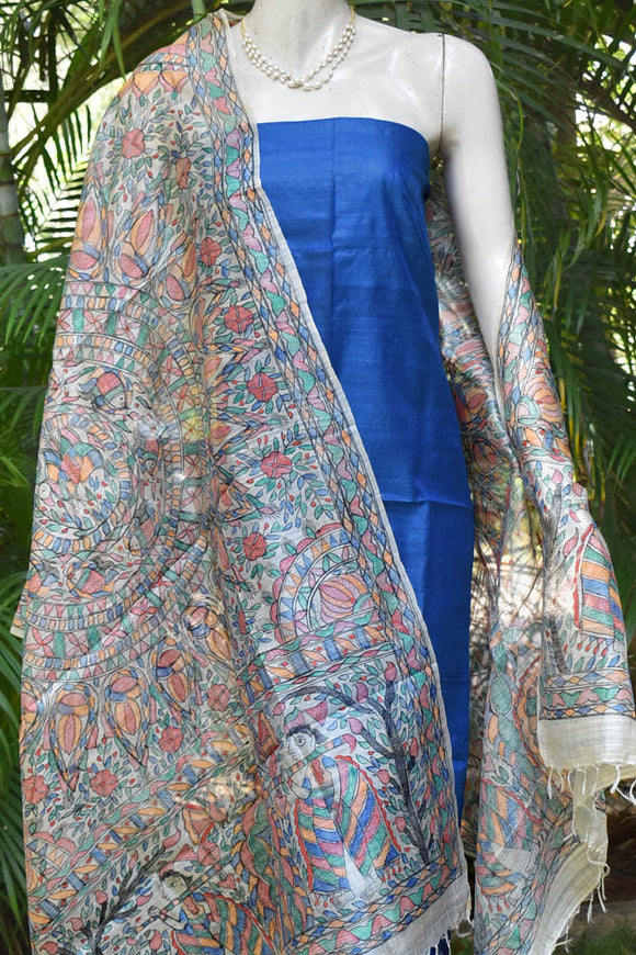 Beautiful Hand-Painted Madhubani Tussar Silk dupatta with Tussar Silk kurta fabric