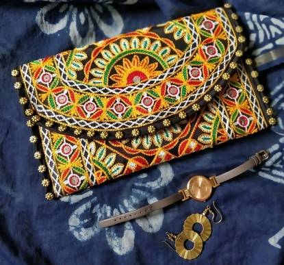 Black Embroidery Clutch