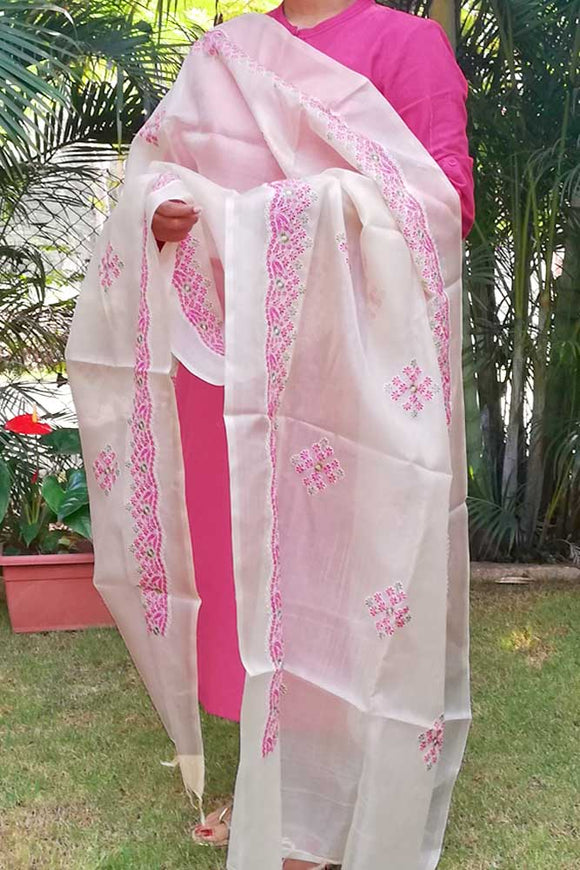 Fine Woven Tussar Silk Dupatta with Embroidery