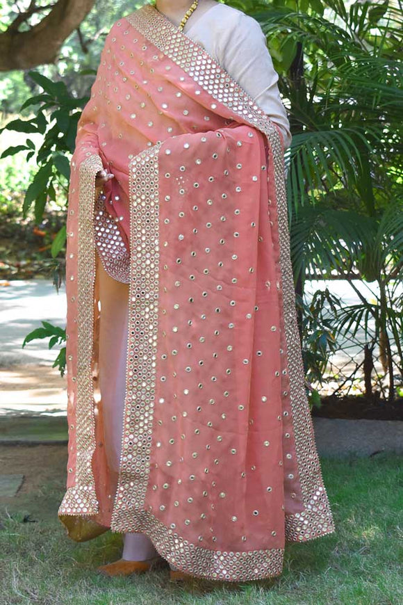 Georgette dupatta with all over Patti Mirror work