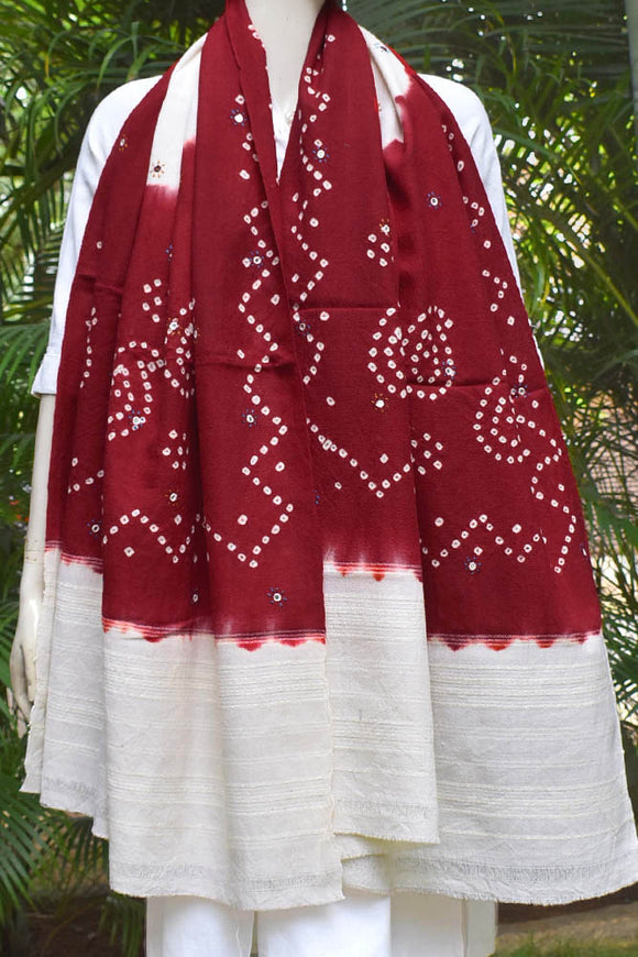 Kutch Handwoven Bandhani Pure Wool Shawl with Mirror Work