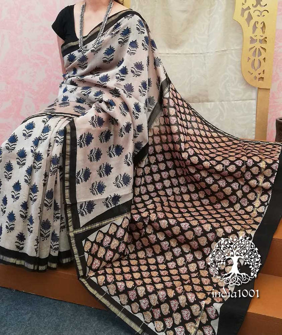 Elegant Chanderi Saree with Hand Block Print