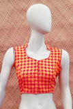 Sleeveless Block Printed Cotton Blouse - size - S - 36