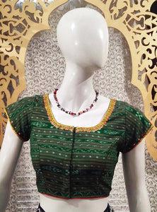 Ikkat Cotton Blouse with Hand Embroidery & Patch work