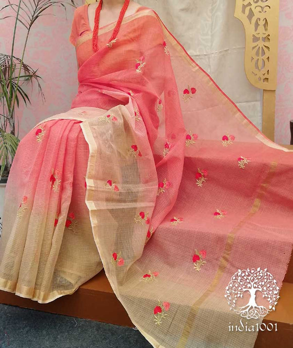Shaded Kota Cotton Saree with Embroidery