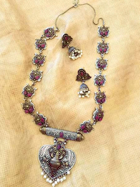 Elegant Antique Finish German Silver Necklace set