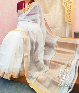 Elegant Mangalgiri Silk & Linen saree with zari border