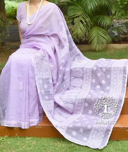 Elegant Kota cotton Saree with Lucknowi Chikankari work