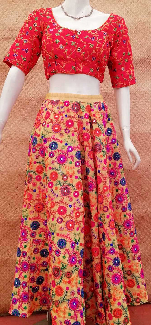 Embroidered Georgette long skirt
