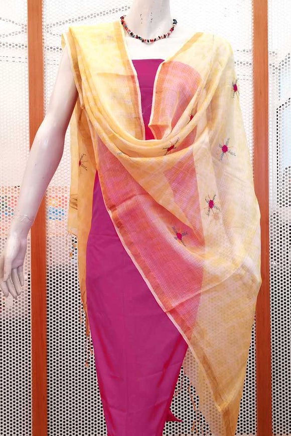 Beautiful  kota silk dupatta  with hand embroidery