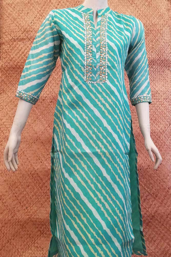 Kota Silk Cotton  Kurta with gota & embroidery wrk