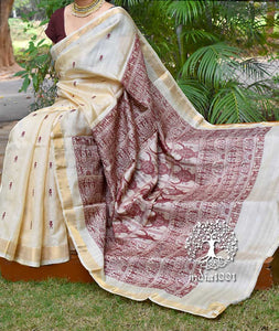 Elegant Handwoven Pure Kosa Silk Saree with Bastar Kala figures