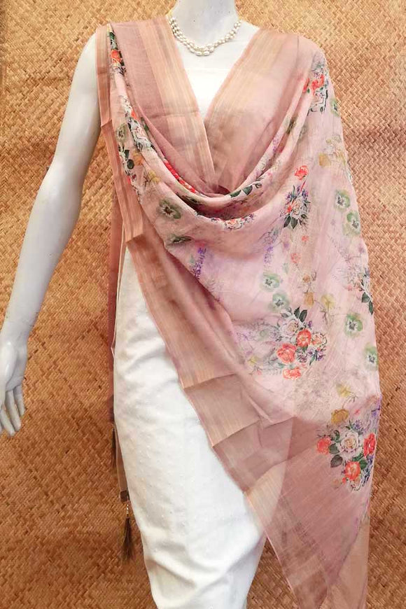 Elegant Faux Kota Silk dupatta with Digital prints
