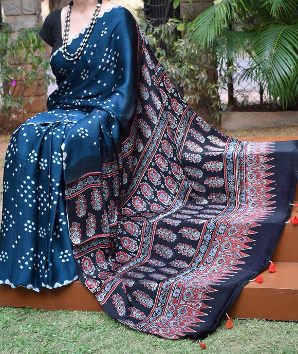 Beautiful Hand-Crafted Modal Silk Ajrakh & Bandhani Saree with Tassels
