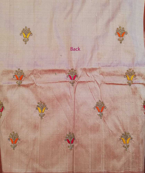Gorgeous Dupion Silk blouse fabric with Hand embroidery